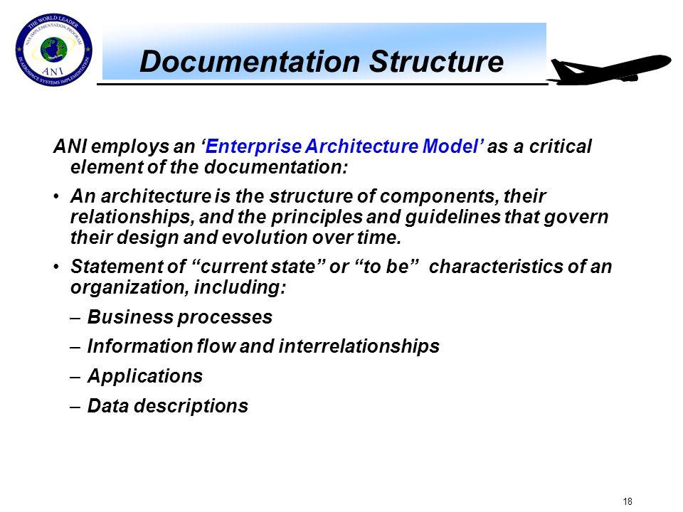 18 Documentation Structure ANI employs an 'Enterprise Architecture Model' as a critical element of the documentation: An architecture is the structure
