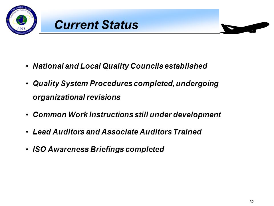 32 Current Status National and Local Quality Councils established Quality System Procedures completed, undergoing organizational revisions Common Work