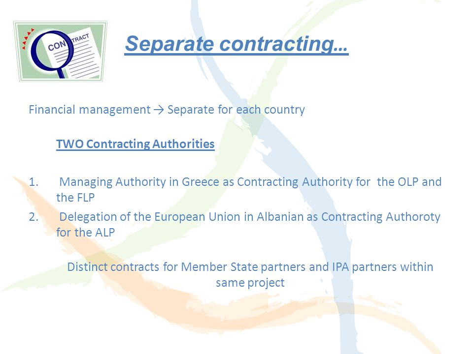 Lead Partner Principle Prior to the submission of the proposal... Financial Lead Partners The Greek Beneficiaries shall appoint a Greek Lead Beneficia
