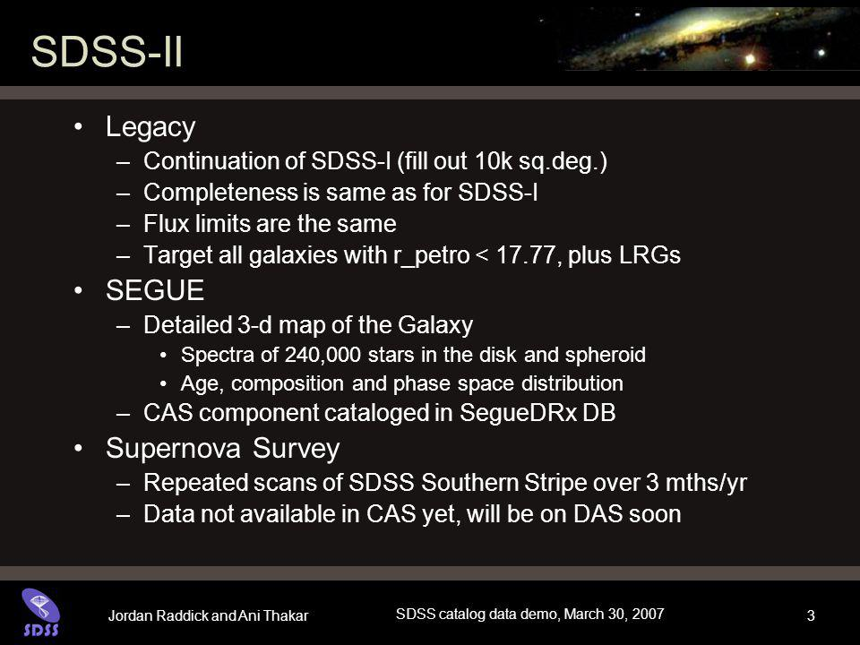 Jordan Raddick and Ani Thakar SDSS catalog data demo, March 30, 2007 3 SDSS-II Legacy –Continuation of SDSS-I (fill out 10k sq.deg.) –Completeness is same as for SDSS-I –Flux limits are the same –Target all galaxies with r_petro < 17.77, plus LRGs SEGUE –Detailed 3-d map of the Galaxy Spectra of 240,000 stars in the disk and spheroid Age, composition and phase space distribution –CAS component cataloged in SegueDRx DB Supernova Survey –Repeated scans of SDSS Southern Stripe over 3 mths/yr –Data not available in CAS yet, will be on DAS soon