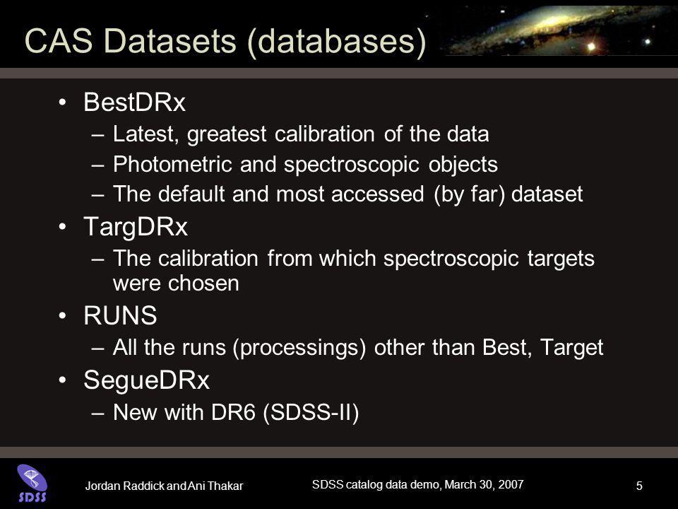 Jordan Raddick and Ani Thakar SDSS catalog data demo, March 30, 2007 16 SQL Concepts Data are stored in a database Similar data types are stored in tables –photoObj (photometry), specObj (spectroscopy), etc.