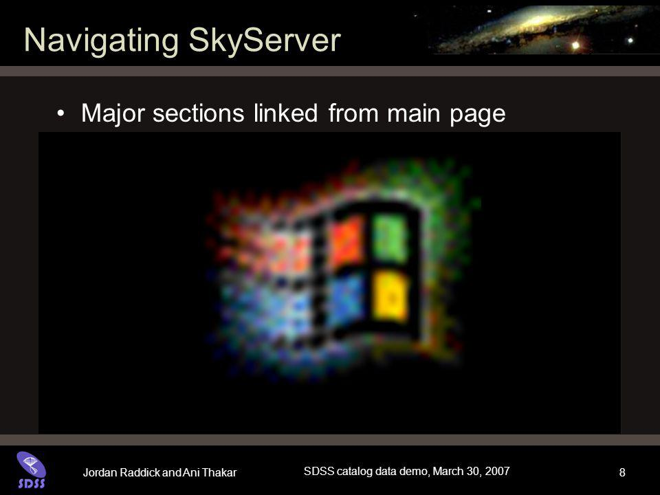 Jordan Raddick and Ani Thakar SDSS catalog data demo, March 30, 2007 8 Navigating SkyServer Major sections linked from main page