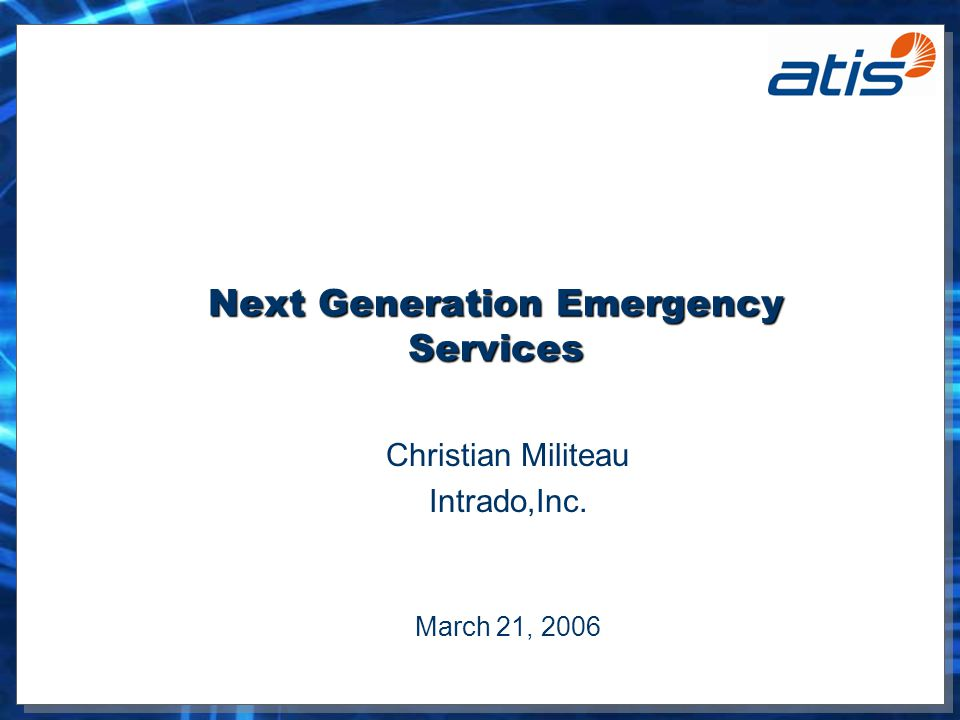 ATIS ESIF TF34 - Emergency Services Network (ESNet) E9-1-1 Call Taker (PSAPs) voice and data network services –Creates options for deployment configurations and service delivery Extend integration and collaboration to broader community Mediates or facilitates access to services –Opt-in subscription models –PSAPs pulls info and controls information that can be pushed Creates context for an emergency service request –Emergency context over request and service response A foundation for additional value-add services –Integrated voice and data via IP and VoIP technologies –Extensible to deliver various application services