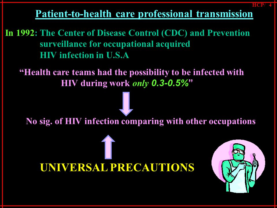 In 1992: The Center of Disease Control (CDC) and Prevention surveillance for occupational acquired HIV infection in U.S.A Health care teams had the possibility to be infected with HIV during work only 0.3-0.5% No sig.