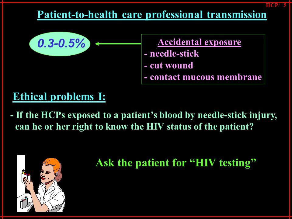 0.3-0.5% Accidental exposure - needle-stick - cut wound - contact mucous membrane Ethical problems I: - If the HCPs exposed to a patient's blood by needle-stick injury, can he or her right to know the HIV status of the patient.