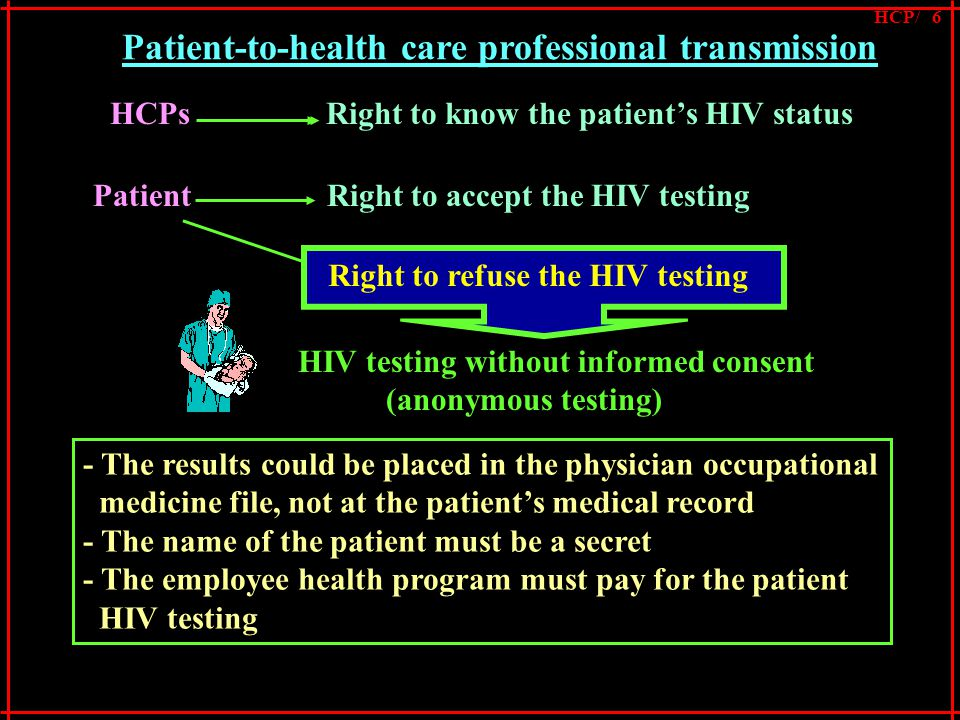 Patient-to-health care professional transmission Patient Right to accept the HIV testing Right to refuse the HIV testing HCPs Right to know the patient's HIV statusHIV testing without informed consent (anonymous testing) Right to refuse the HIV testing - The results could be placed in the physician occupational medicine file, not at the patient's medical record - The name of the patient must be a secret - The employee health program must pay for the patient HIV testing HCP/ 6