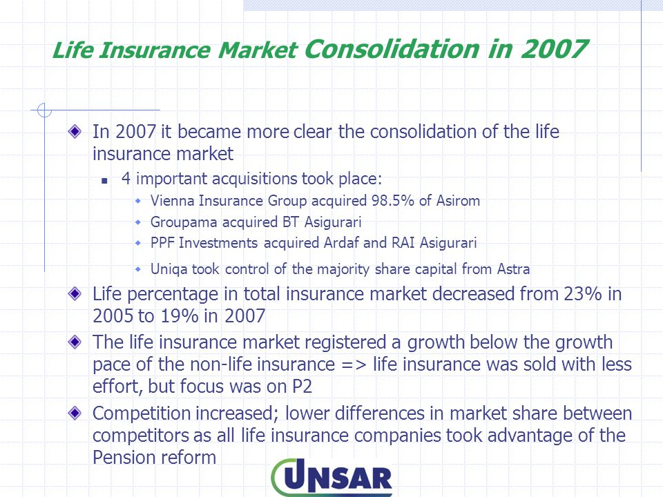 Life Insurance Market Consolidation in 2007 In 2007 it became more clear the consolidation of the life insurance market 4 important acquisitions took place:  Vienna Insurance Group acquired 98.5% of Asirom  Groupama acquired BT Asigurari  PPF Investments acquired Ardaf and RAI Asigurari  Uniqa took control of the majority share capital from Astra Life percentage in total insurance market decreased from 23% in 2005 to 19% in 2007 The life insurance market registered a growth below the growth pace of the non-life insurance => life insurance was sold with less effort, but focus was on P2 Competition increased; lower differences in market share between competitors as all life insurance companies took advantage of the Pension reform