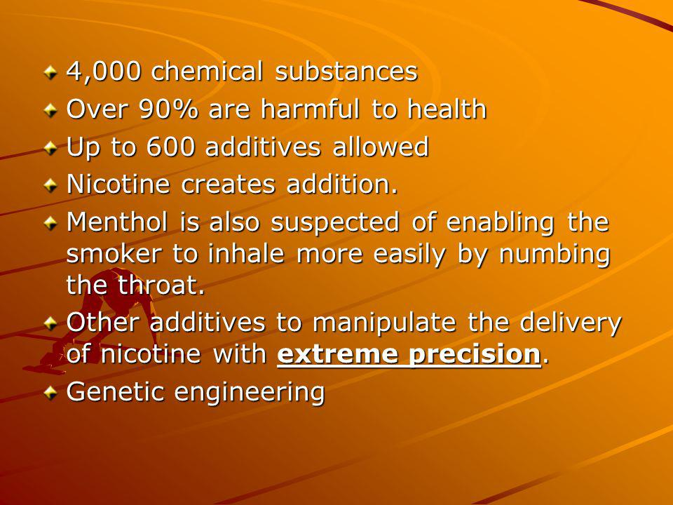 4,000 chemical substances Over 90% are harmful to health Up to 600 additives allowed Nicotine creates addition.
