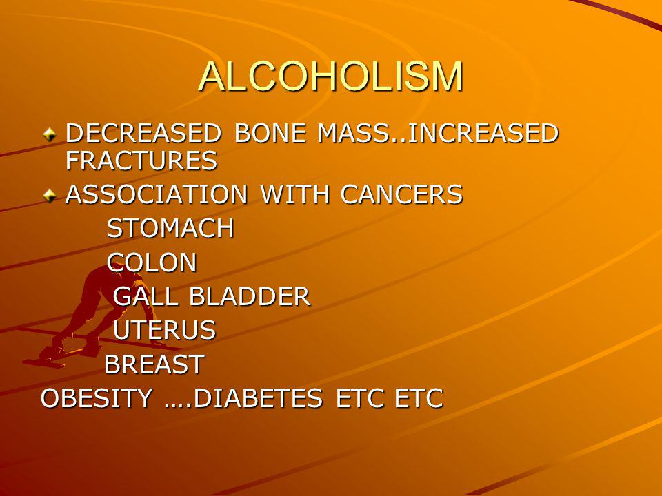 ALCOHOLISM DECREASED BONE MASS..INCREASED FRACTURES ASSOCIATION WITH CANCERS STOMACHCOLON GALL BLADDER GALL BLADDER UTERUS UTERUS BREAST BREAST OBESITY ….DIABETES ETC ETC