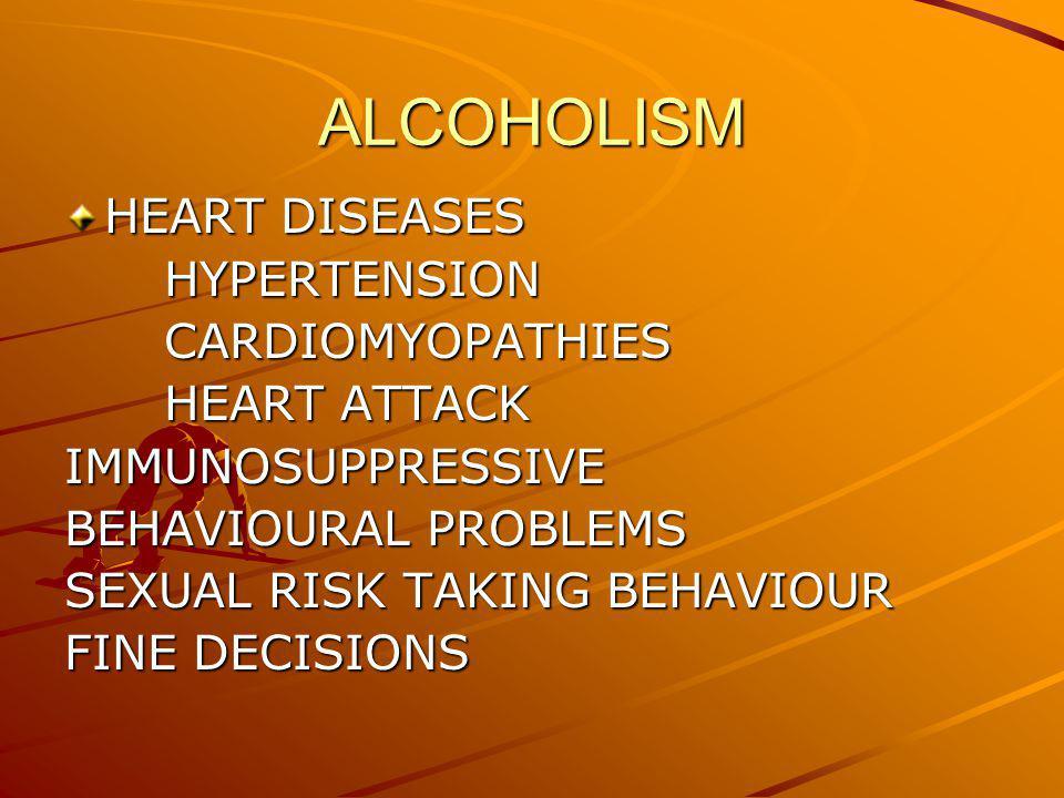 ALCOHOLISM HEART DISEASES HYPERTENSION HYPERTENSION CARDIOMYOPATHIES CARDIOMYOPATHIES HEART ATTACK HEART ATTACKIMMUNOSUPPRESSIVE BEHAVIOURAL PROBLEMS SEXUAL RISK TAKING BEHAVIOUR FINE DECISIONS