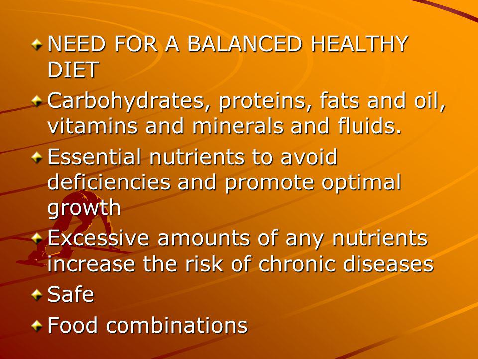 B contd.Eat for health – well – balanced nutritious meal with lots of fruits and vegetables.