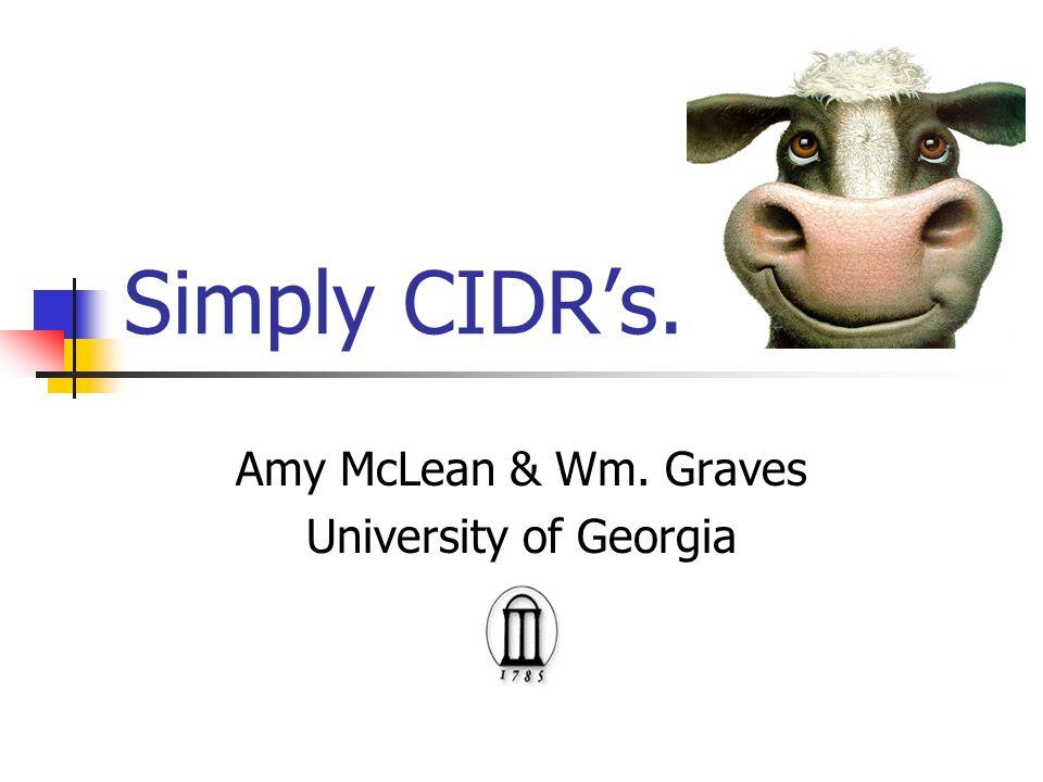 Simply CIDR's. Amy McLean & Wm. Graves University of Georgia