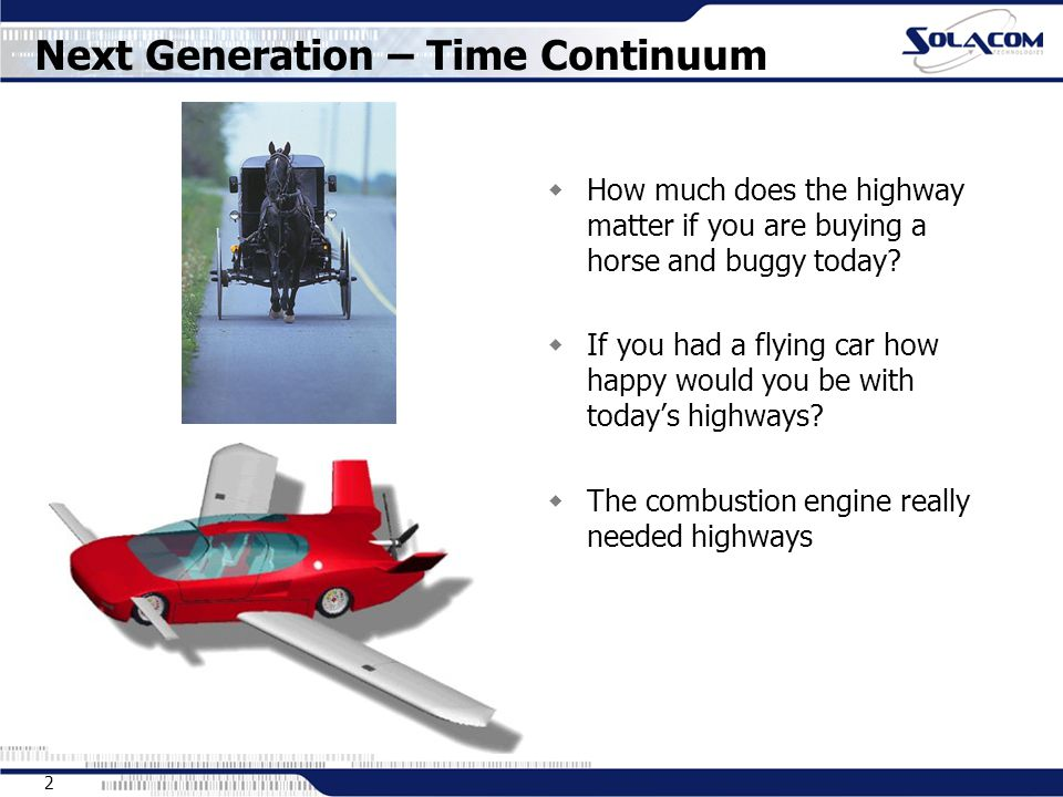2 Next Generation – Time Continuum  How much does the highway matter if you are buying a horse and buggy today.