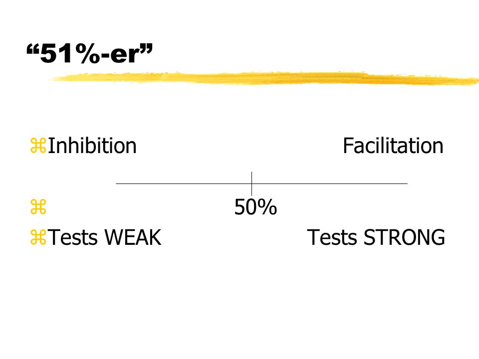 51%-er zInhibition Facilitation z 50% zTests WEAK Tests STRONG