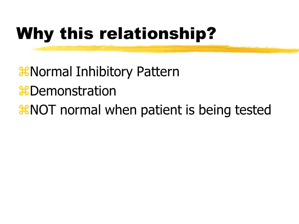 Why this relationship? zNormal Inhibitory Pattern zDemonstration zNOT normal when patient is being tested