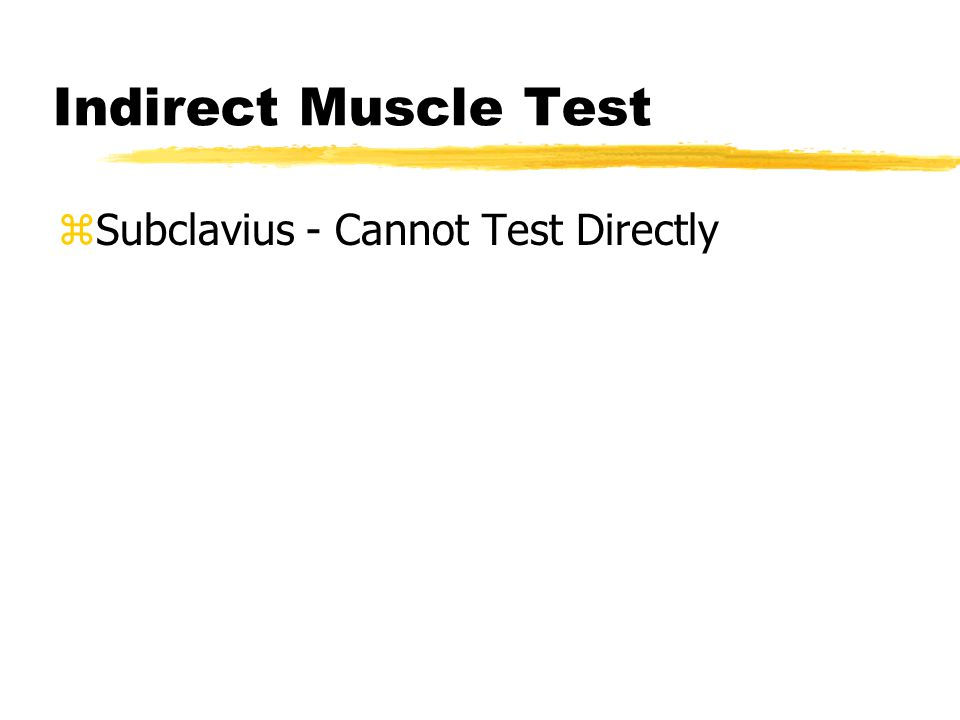 Indirect Muscle Test zSubclavius - Cannot Test Directly