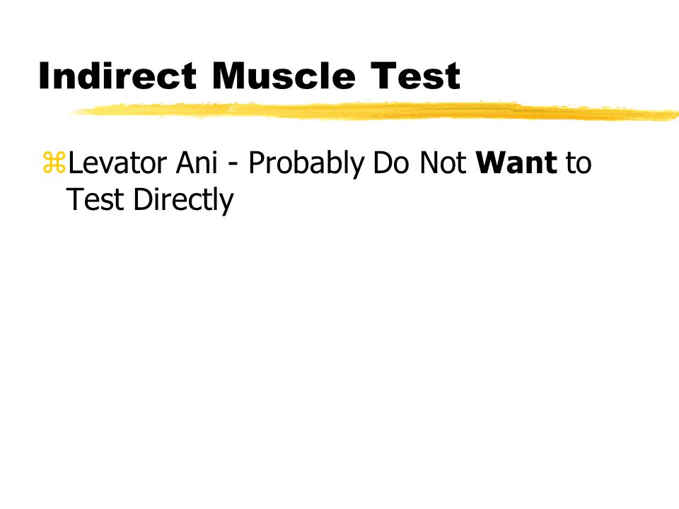 Indirect Muscle Test zLevator Ani - Probably Do Not Want to Test Directly