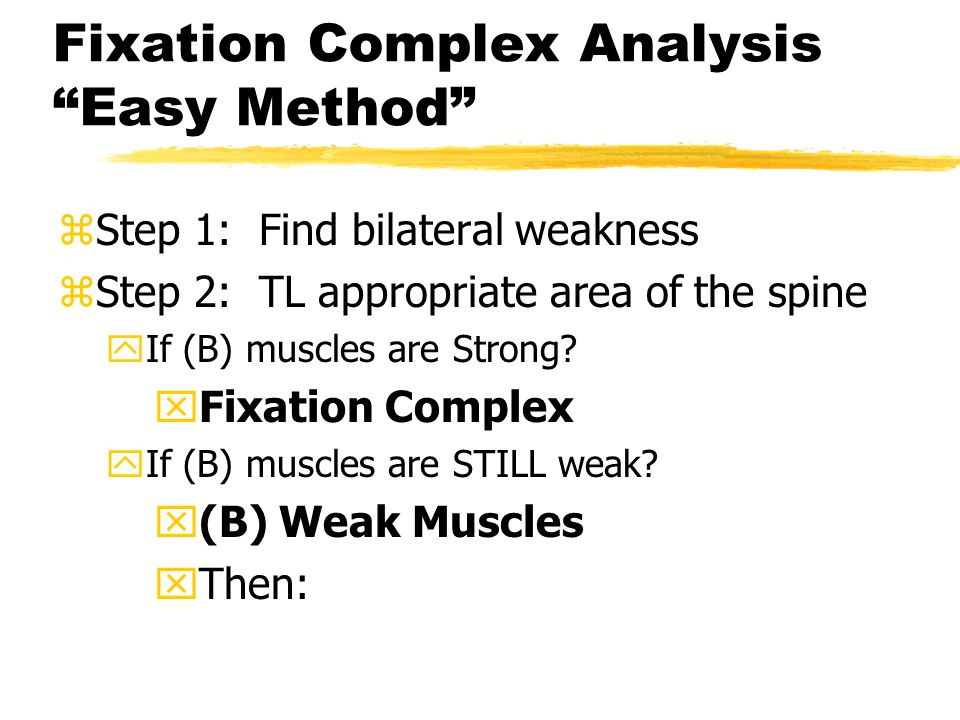 Fixation Complex Analysis Easy Method zStep 1: Find bilateral weakness zStep 2: TL appropriate area of the spine yIf (B) muscles are Strong.