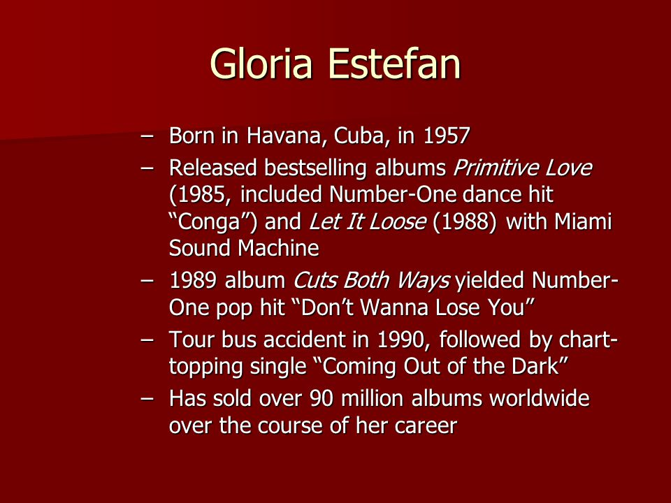 "Gloria Estefan –Born in Havana, Cuba, in 1957 –Released bestselling albums Primitive Love (1985, included Number-One dance hit ""Conga"") and Let It Loo"