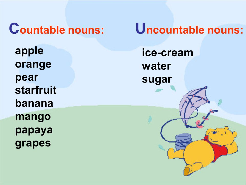 water sugar apple orange pear starfruit banana mango papaya grapes C ountable nouns: U ncountable nouns: