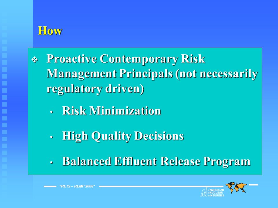 ANI Environmental Guidelines  Distributed March 1996  4 Principal Areas Environmental Management Environmental Management Effluent Release Management Effluent Release Management Environmental Monitoring Environmental Monitoring Radioactive Materials Management Radioactive Materials Management RETS – REMP 2006   AMERICAN   NUCLEAR   INSURERS