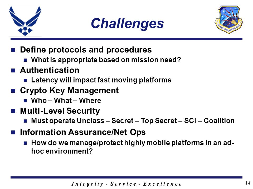I n t e g r i t y - S e r v i c e - E x c e l l e n c e 14 Challenges Define protocols and procedures What is appropriate based on mission need.