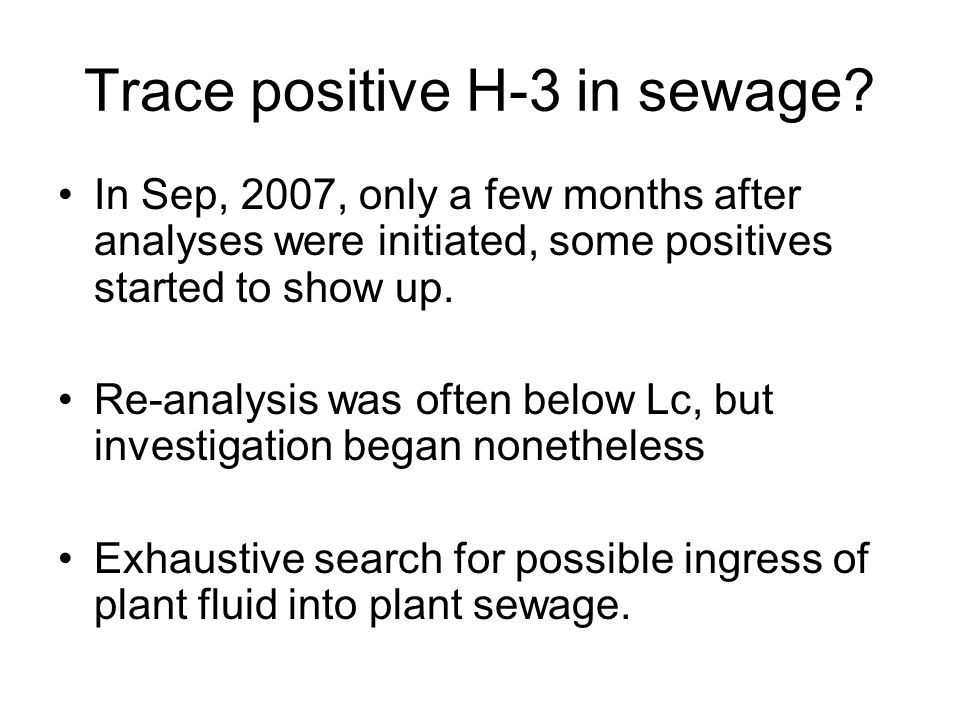 Trace positive H-3 in sewage.