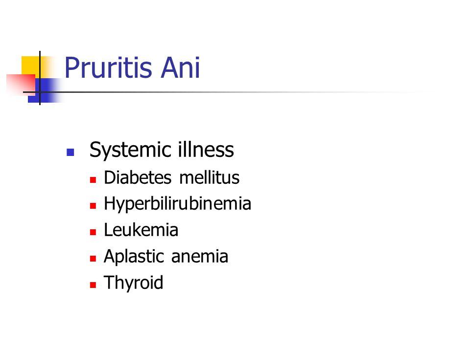 Pruritis Ani Systemic illness Diabetes mellitus Hyperbilirubinemia Leukemia Aplastic anemia Thyroid