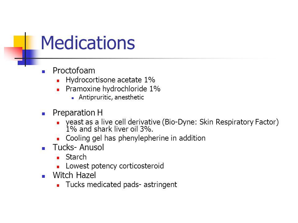 Medications Proctofoam Hydrocortisone acetate 1% Pramoxine hydrochloride 1% Antipruritic, anesthetic Preparation H yeast as a live cell derivative (Bi