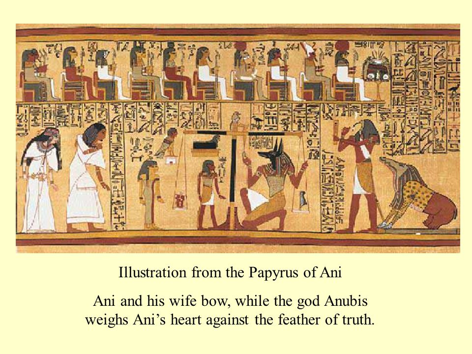 Illustration from the Papyrus of Ani Ani and his wife bow, while the god Anubis weighs Ani's heart against the feather of truth.