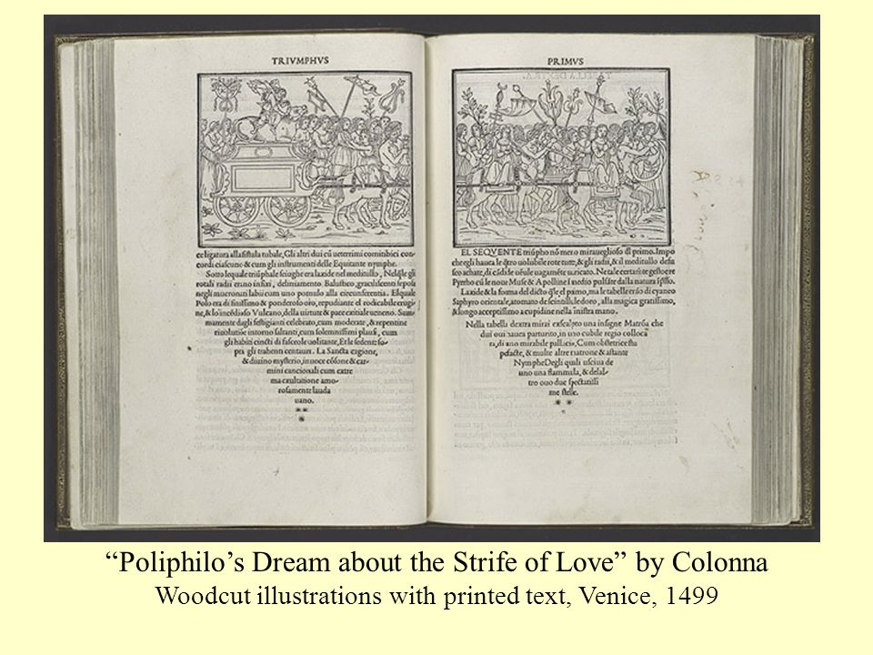 Poliphilo's Dream about the Strife of Love by Colonna Woodcut illustrations with printed text, Venice, 1499