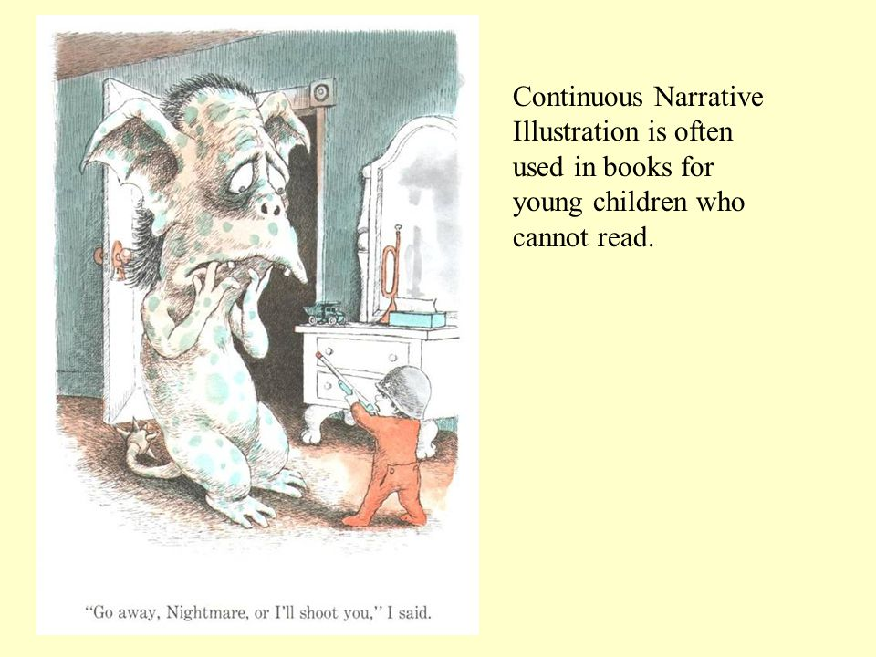 Continuous Narrative Illustration is often used in books for young children who cannot read.