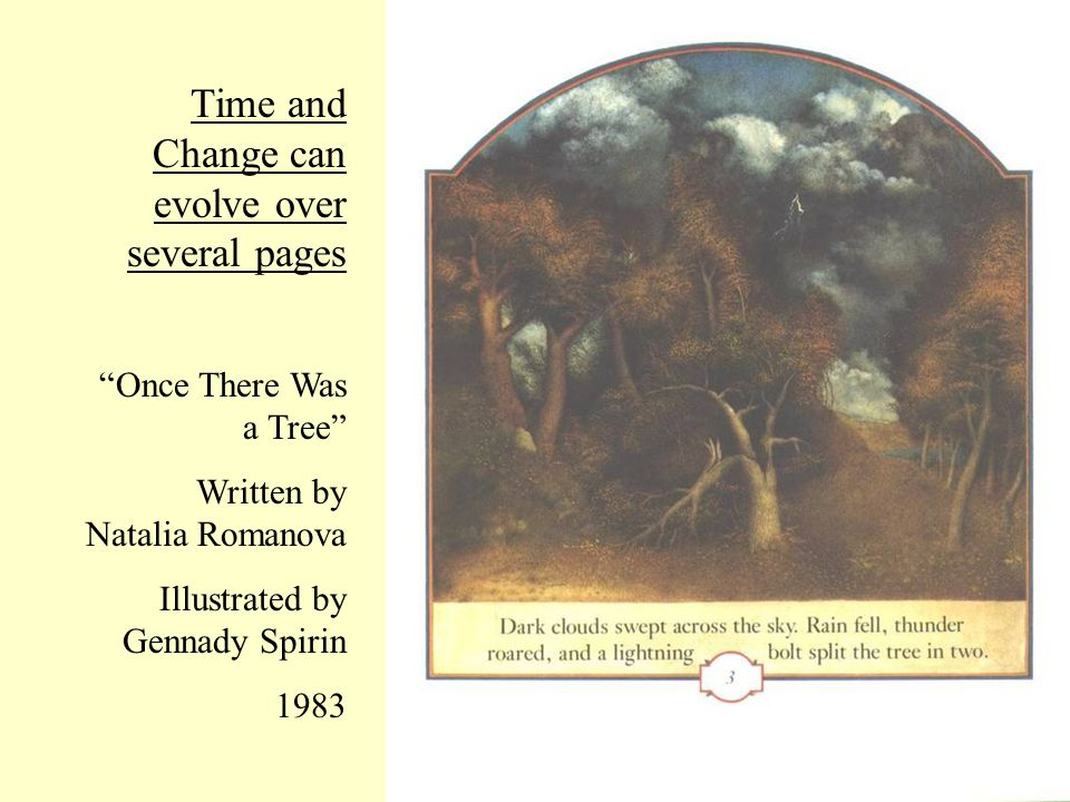 Time and Change can evolve over several pages Once There Was a Tree Written by Natalia Romanova Illustrated by Gennady Spirin 1983