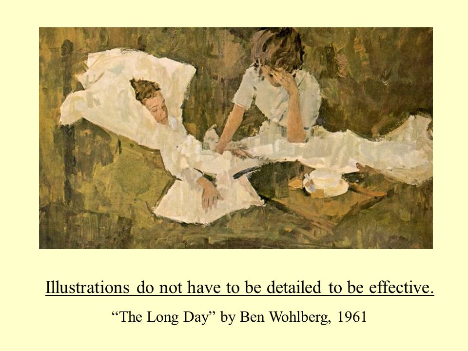 Illustrations do not have to be detailed to be effective. The Long Day by Ben Wohlberg, 1961