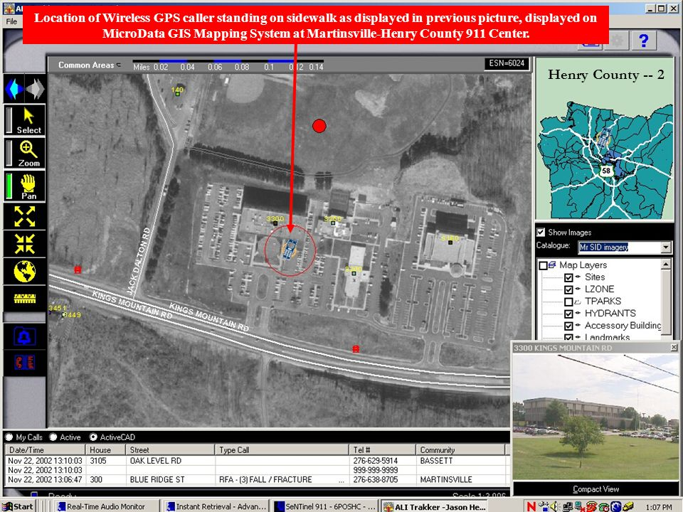 Location of Wireless GPS caller standing on sidewalk as displayed in previous picture, displayed on MicroData GIS Mapping System at Martinsville-Henry County 911 Center.