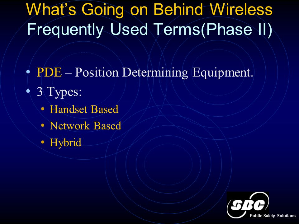 What's Going on Behind Wireless Frequently Used Terms(Phase II) PDE – Position Determining Equipment.