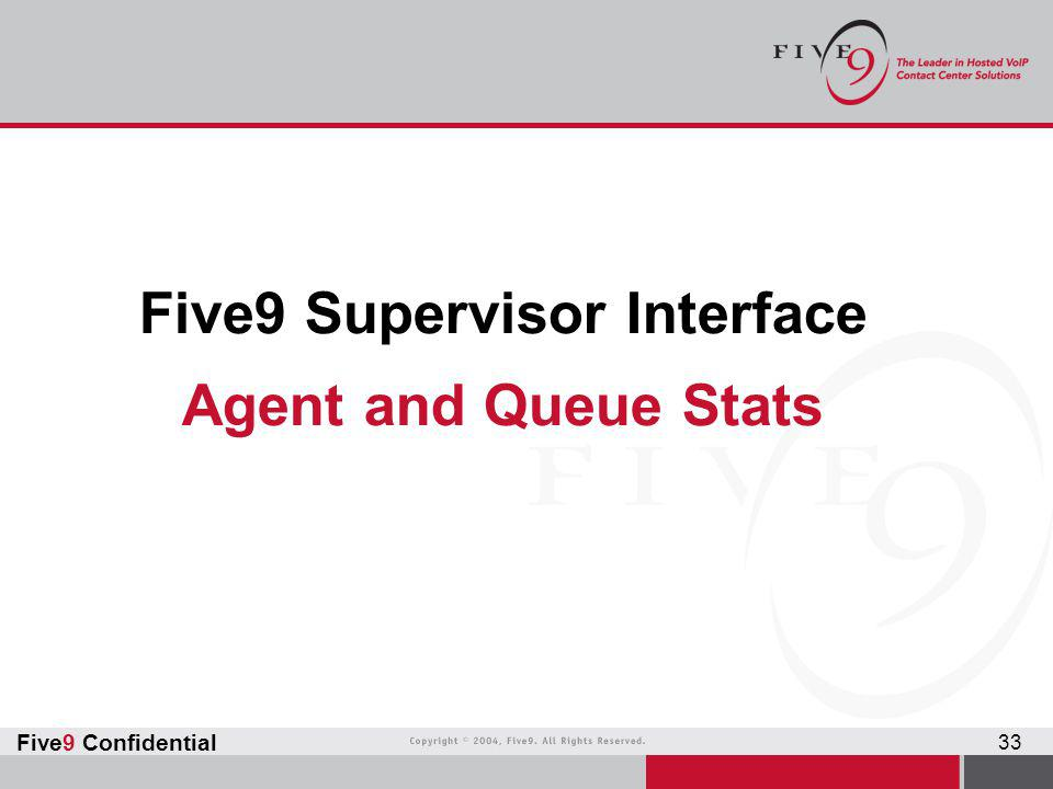Five9 Confidential 33 Five9 Supervisor Interface Agent and Queue Stats