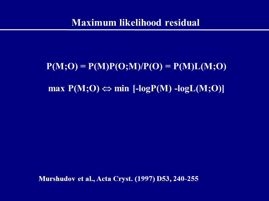 Maximum likelihood residual P(M;O) = P(M)P(O;M)/P(O) = P(M)L(M;O) max P(M;O)  min [-logP(M) -logL(M;O)] Murshudov et al., Acta Cryst.