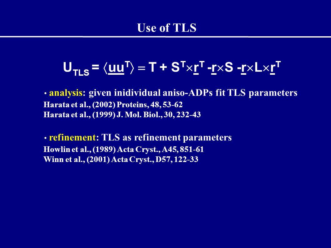 Use of TLS U TLS =  uu T  T + S T  r T -r  S -r  L  r T analysis: given inidividual aniso-ADPs fit TLS parameters Harata et al., (2002) Proteins, 48, 53-62 Harata et al., (1999) J.