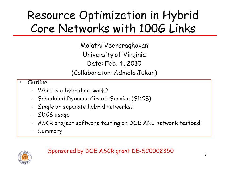 1 Resource Optimization in Hybrid Core Networks with 100G Links Malathi Veeraraghavan University of Virginia Date: Feb.