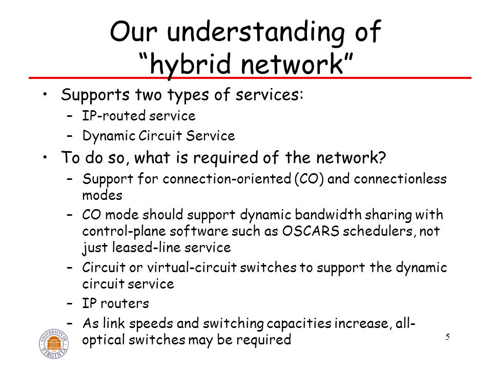 """Our understanding of """"hybrid network"""" Supports two types of services: –IP-routed service –Dynamic Circuit Service To do so, what is required of the ne"""
