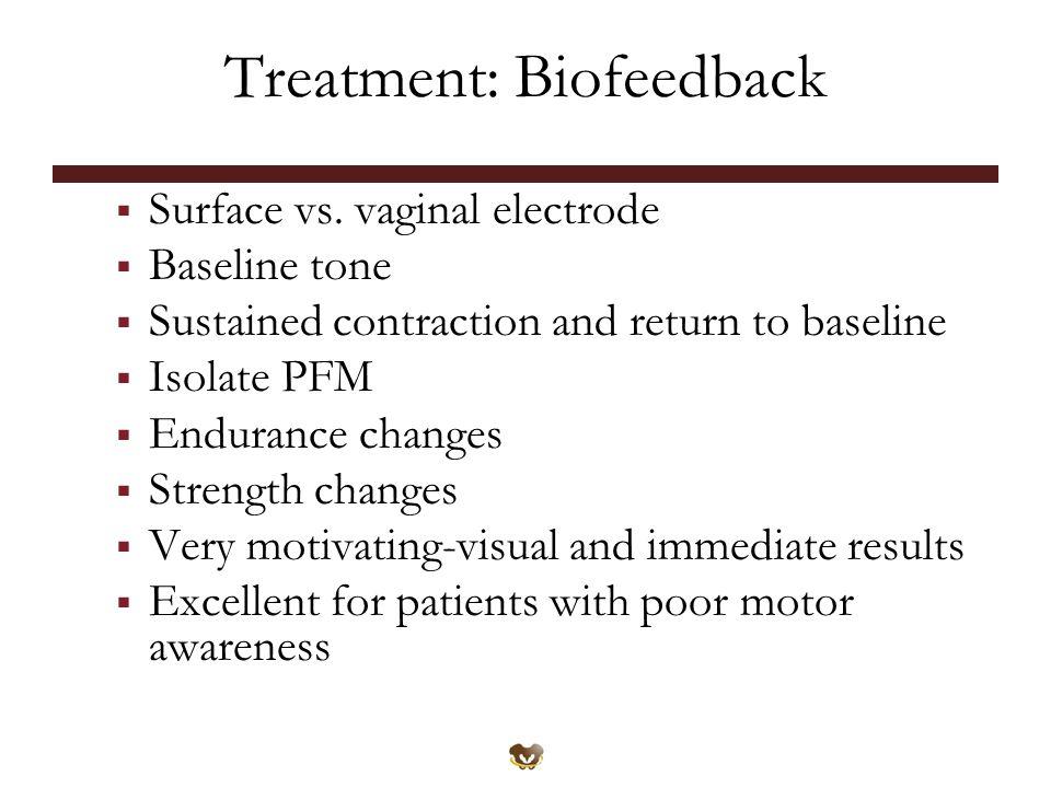 Treatment: Biofeedback  Surface vs.