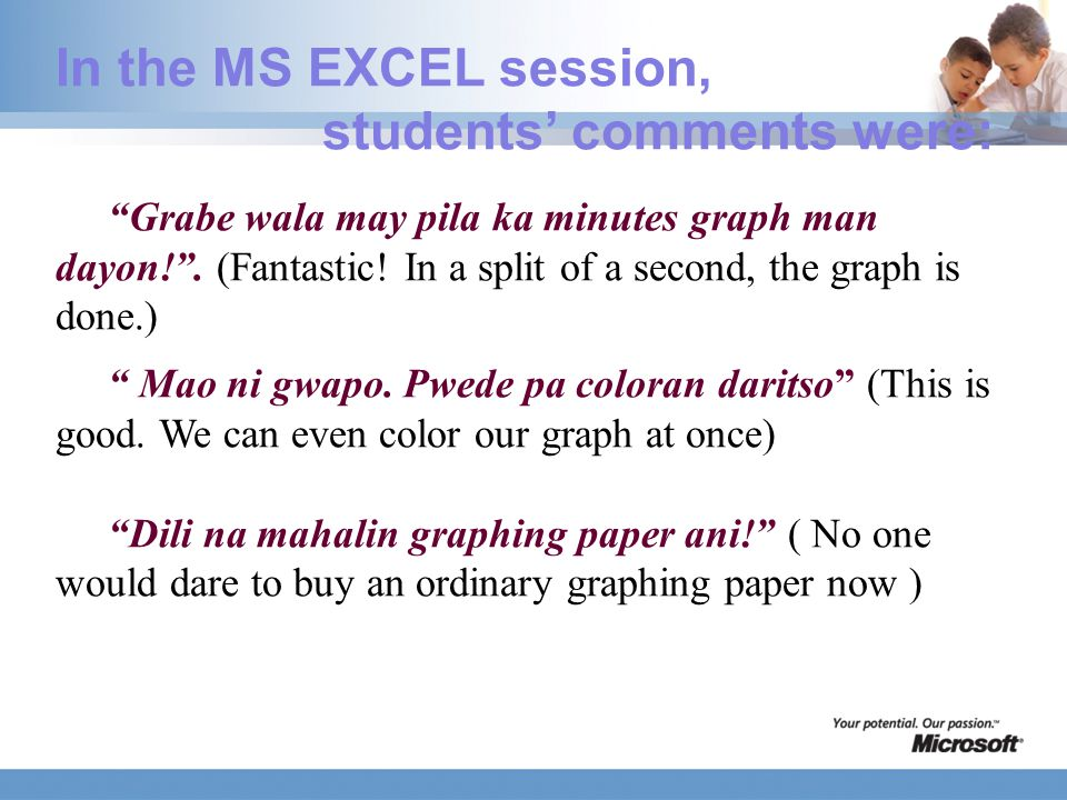 In the MS EXCEL session, students' comments were: Grabe wala may pila ka minutes graph man dayon! .
