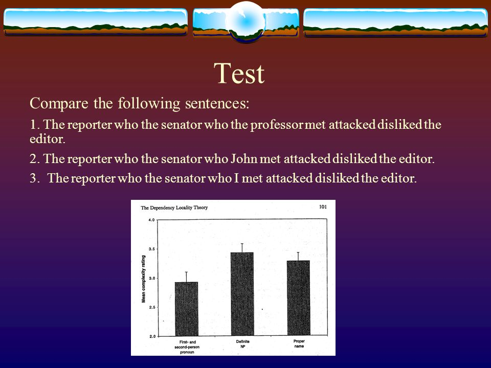 Test Compare the following sentences: 1. The reporter who the senator who the professor met attacked disliked the editor. 2. The reporter who the sena