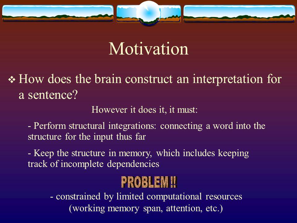 Motivation  How does the brain construct an interpretation for a sentence.