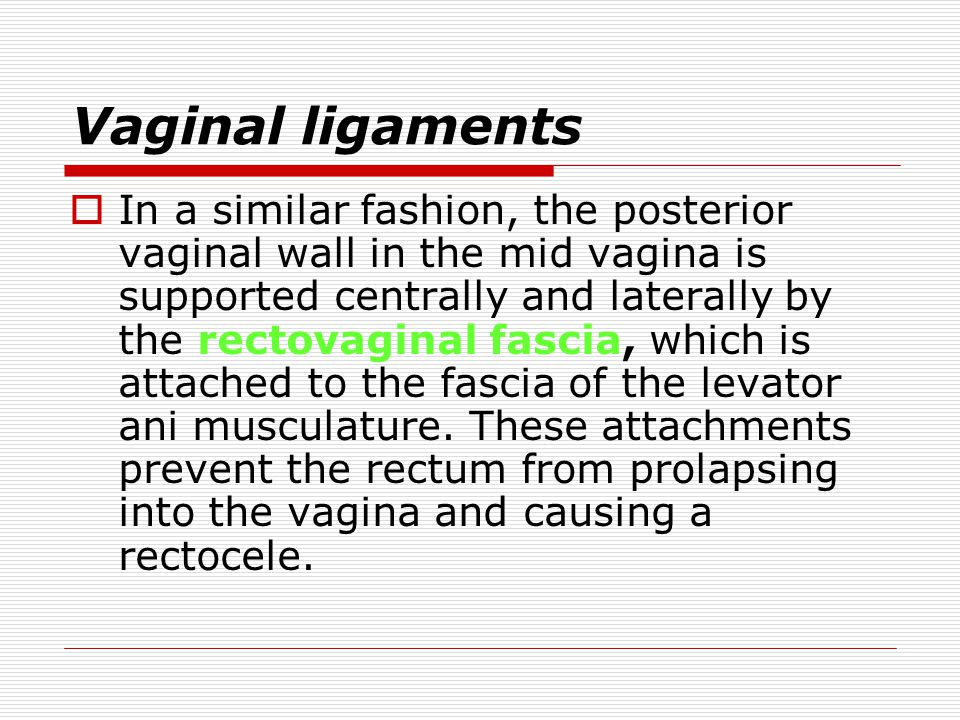 Vaginal ligaments  The pubocervical fascia stretches between the ATFP to support the anterior vaginal wall and bladder. A cystocele can occur when da