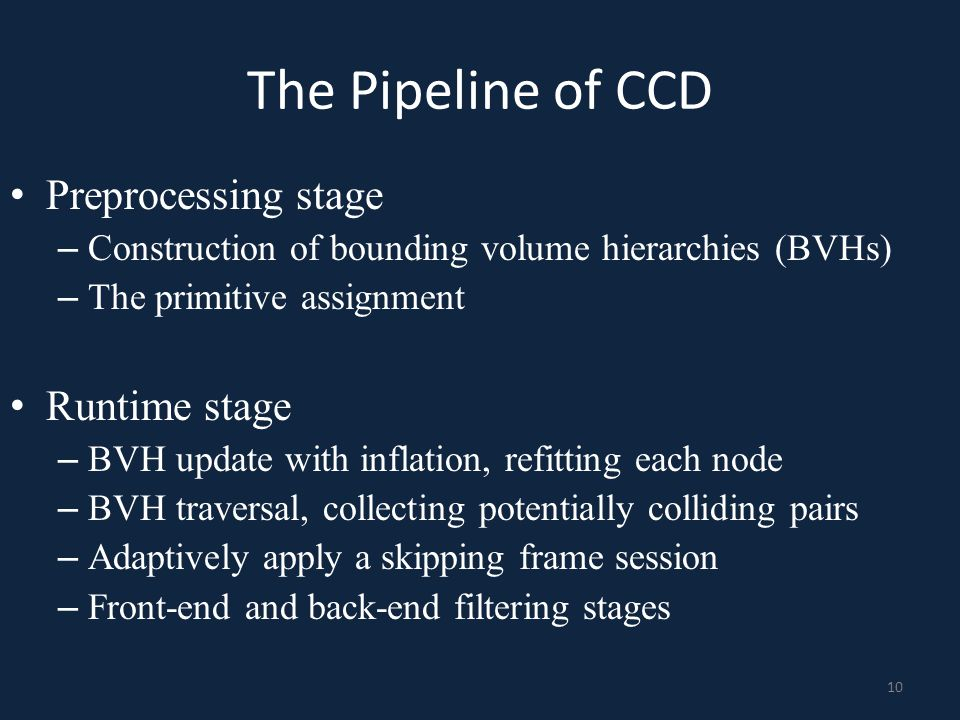 The Pipeline of CCD Preprocessing stage – Construction of bounding volume hierarchies (BVHs) – The primitive assignment Runtime stage – BVH update wit