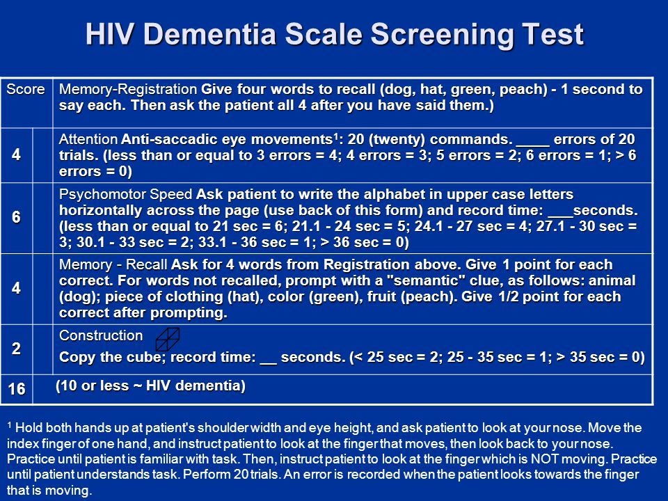 HIV Dementia Scale Screening Test Score Memory-Registration Give four words to recall (dog, hat, green, peach) - 1 second to say each.