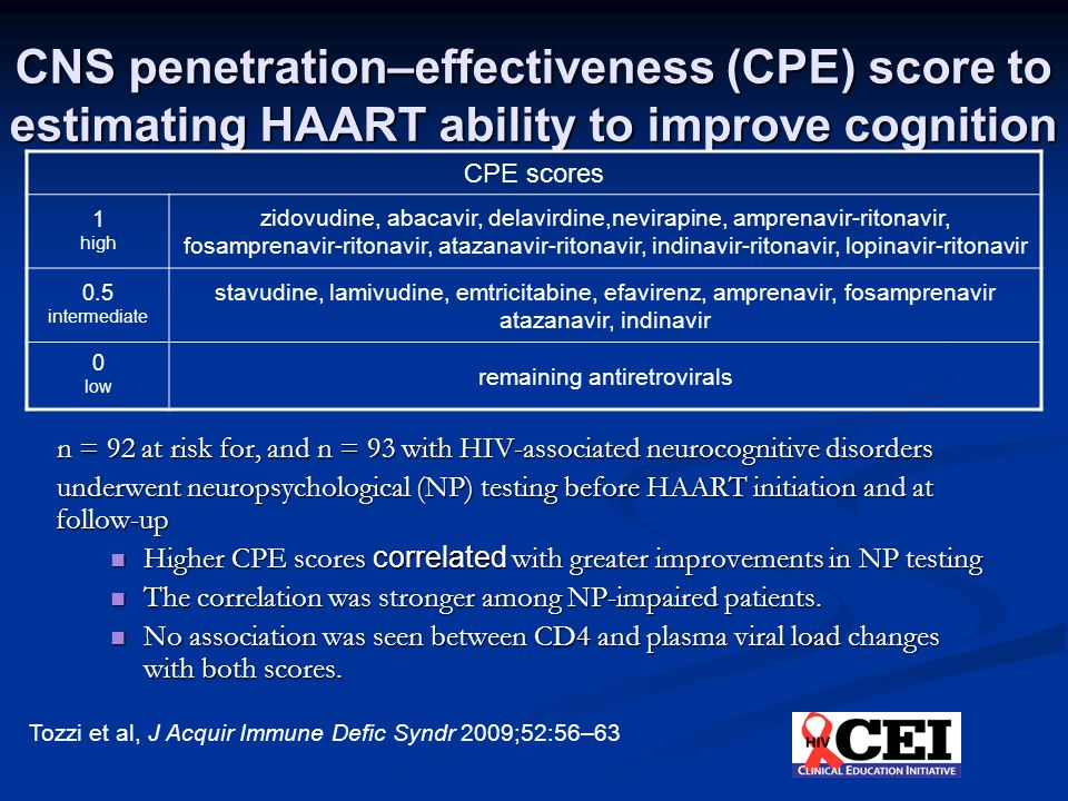 CNS penetration–effectiveness (CPE) score to estimating HAART ability to improve cognition n = 92 at risk for, and n = 93 with HIV-associated neurocognitive disorders underwent neuropsychological (NP) testing before HAART initiation and at follow-up Higher CPE scores correlated with greater improvements in NP testing Higher CPE scores correlated with greater improvements in NP testing The correlation was stronger among NP-impaired patients.
