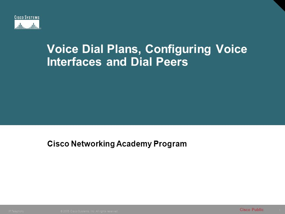 1 © 2005 Cisco Systems, Inc. All rights reserved. Cisco Public IP Telephony Voice Dial Plans, Configuring Voice Interfaces and Dial Peers Cisco Networ